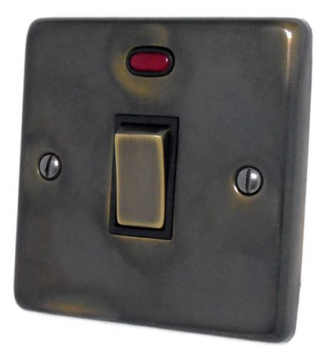G&H CAN326 Standard Plate Polished Aged Brass 1 Gang 20 Amp Double Pole Switch & Neon